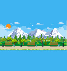 Mountain park concept wooden bench vector