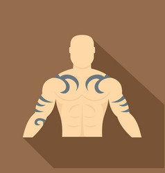 Muscular man with tattoo icon flat style vector