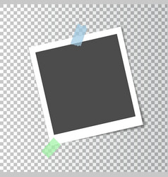 Photo frame retro with shadow on sticky tape vector
