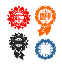 Quality sign icon template set warranty and vector
