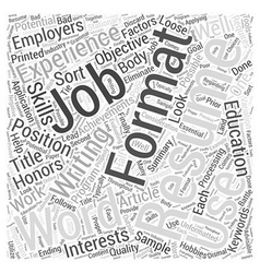 Resume formats using a word processing program vector