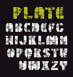 Sans serif stencil plate font military style vector