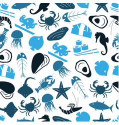seafood and fish food theme icons blue seamless vector image vector image