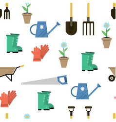 seamless pattern for gardener set vector image