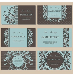Set of six floral business cards vector image vector image