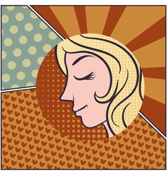 Silhouette beauty woman with hair in pop art style vector image