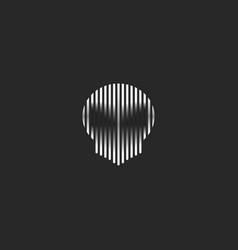 Skull logo striped style grunge vector