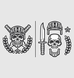 Skull military helmet with knifes vector