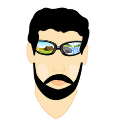 spectacles with nature on person vector image vector image