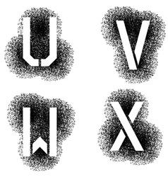 stencil angular spray font letters U V W X vector image vector image