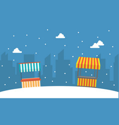 Street stall with snow beauty landscape vector