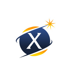 swoosh logo letter x vector image