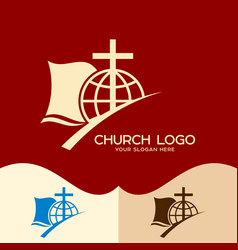the cross of jesus the bible and the globe vector image vector image