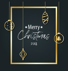 the inscription of merry christmas on a black vector image vector image