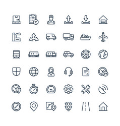 thin line icons set with logistic delivery vector image vector image