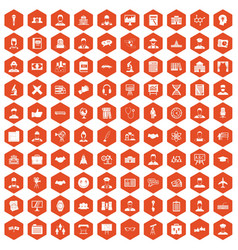 100 intelligent icons hexagon orange vector