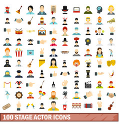 100 stage actor icons set flat style vector