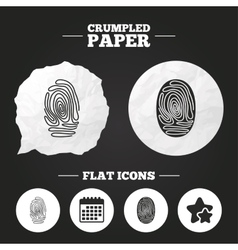 Fingerprint icons identification signs vector