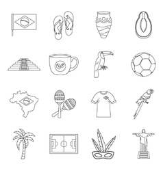 Brazil travel symbols icons set outline style vector