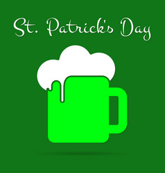 St patricks day card green beer with froth text vector