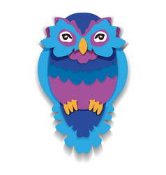Beauty owl in paper style isolated vector
