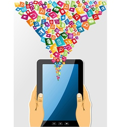 Human hands holds a tablet pc social media icons vector image