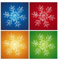 four christmas snowflake vector image