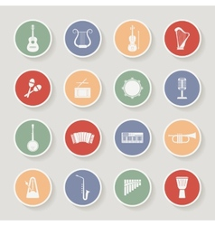 Round musical instruments icons vector