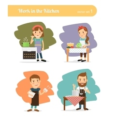 People in kitchen vector