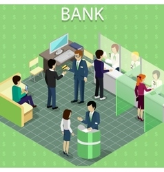 Isometric interior of the bank with people vector