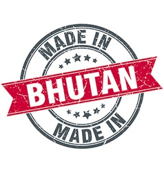 Made in bhutan red round vintage stamp vector