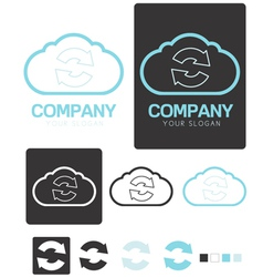 Sync cloud computing company logo template vector