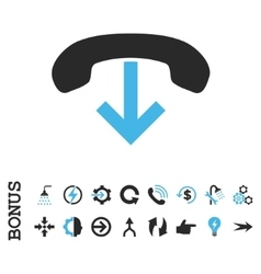 Phone hang up flat icon with bonus vector