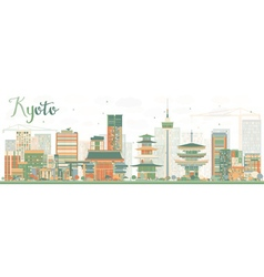 Abstract Kyoto Skyline with Color Landmarks vector image