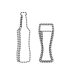 Beer bottle sign black dashed icon on vector