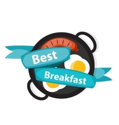 Breakfast obreakfast scrambled eggs with sausage vector