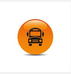 Bus school icon on an orange button vector