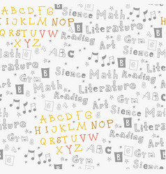 childish english school text seamless pattern vector image