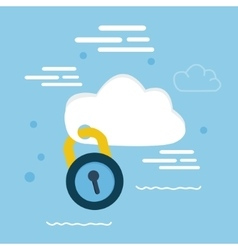 cloud security pad lock icon concept vector image