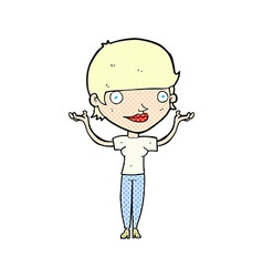 Comic cartoon woman holding arms in air vector