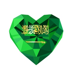 Crystal gem jewelry saudi arabian heart with the vector