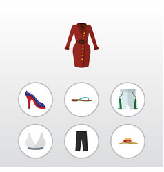 Flat clothes set of beach sandal clothes vector