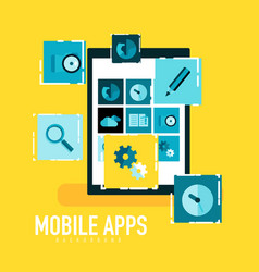 Flat mobile apps on tablet concept vector