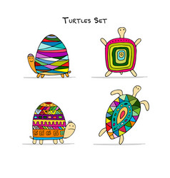 Funny turtles set sketch for your design vector
