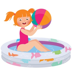 Girl with a ball in an inflatable pool vector