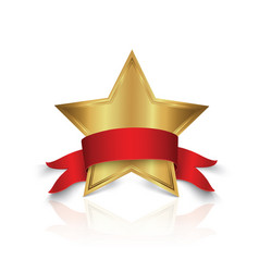 Gold star award with shiny vector