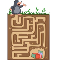 Help mole to find way home in an underground maze vector