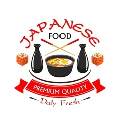 Japanese premium quality food restaurant label vector