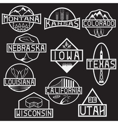 Labels of states and landmarks of usa vector