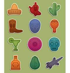 mexican stickers vector image vector image